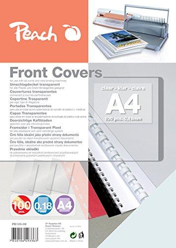 Peach PB100-06 Deckblätter, DIN A4, 0.18 mm, 100 Stück, transparent