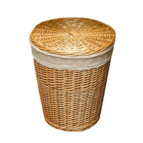 BBYE Willow Boxes Panier De Rangement / Rattan Panier De Vêtements Sale / Panier De Lavage De Salle De Bain / Avec Panier De Rangement De Couverture ( couleur : Couleur claire , taille : M )
