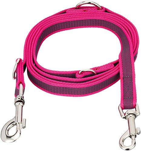 Julius K9 216GM-PN-DP, Color & Gray gumierte Doppel-Leine verstellbar, pink-grau, 20 mm x 2,2 m, max für 50 kg Hunde