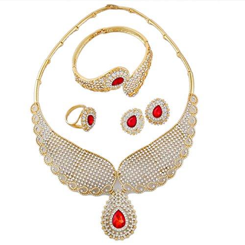 Yulaili Fashion Jewelry Sets afrikanischen Pedant Kostüm Halskette Fashion Charms Armband Frauen 24K Dubai vergoldet ()