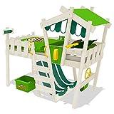 WICKEY Letto per bambini CrAzY Hutty Letto a soppalco con tetto Letto Avventura con rete a doghe, verde mela-verde + pittura bianca