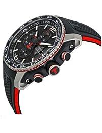 TISSOT PRS 516 esfera de color negro con cronógrafo de caucho de color negro reloj de los hombres