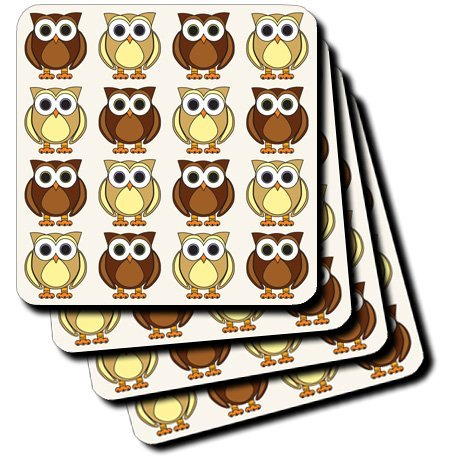 Set Ceramic Tile (Janna Salak Designs Cute Brown Owl Print Ceramic Tile Coaster, Set of 4)