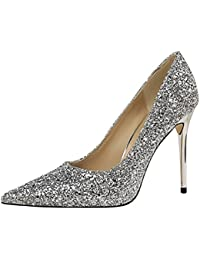 DIMAOL Zapatos de Mujer Glitter Primavera Otoño Gladiator Bomba Básica Tacones Stiletto Talón de Fiesta Vestido...