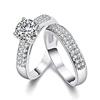 YAZILIND Elegant Jewelry Shiny Wave Shape White Cubic Zirconia Platinum Plated Rings for Women the Couple Size 9