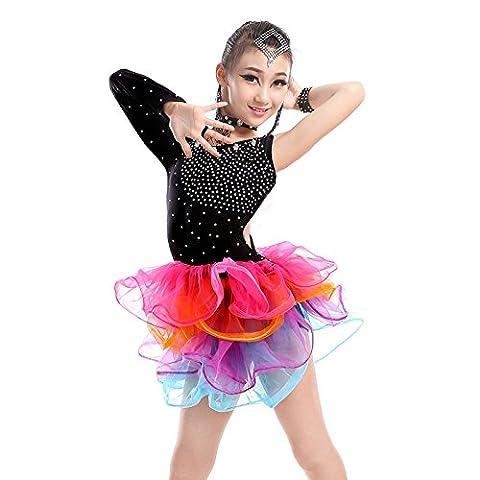 enfant Danse latine Fille Tenue de danse Jeu montrer Vêtements Entraine toi Vêtements de performance Jupe en fil , black , 120cm
