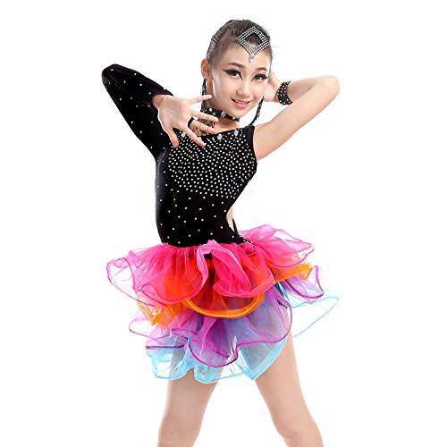 Kind Lateinischer Tanz Mädchen Tanz-Outfit Spiel Show Kleidung Trainieren Performance-Bekleidung Garnrock , black , (Racks Kleidungsstück Tanz Kostüme)