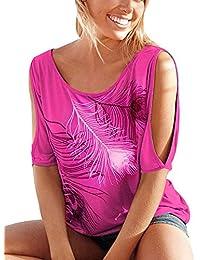 ELFIN® Fashion Sexy Femme Chemisier Haut Blouse Eté Épaule Manche courte Casual T Shirt Haut Tops Tee Plume