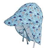 Boomly Niños Bebé Algodón Sombrero para El Sol UV50 + Proteccion Verano Pescar Sombreros Plegable Gorro De Playa con Ajustable Correa De La Barbilla Secado Rápido Gorra Exterior (#6, S)