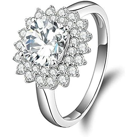 (Personalizzati Anelli)Adisaer Anelli Donna Argento 925 Anello Fidanzamento Incisione Gratuita Hemp Fiori Anello Diamante