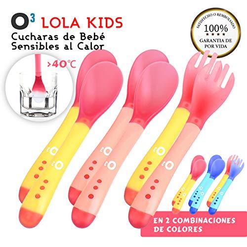 O³ Cucharas Silicona Bebe 6 Uds (4 Cucharas + 2 Tenedores) - 2 Versiones | Cucharas Sensibles Al Calor - Cucharas Silicona Bebé Cambian Color A Más De 40°C - Sin BPA – Aptas Para Lavavajillas (Rosa)