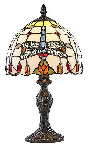 Haysoms splendido libellula lampada in vetro tiffany con perline rosso e ambra, multicolore