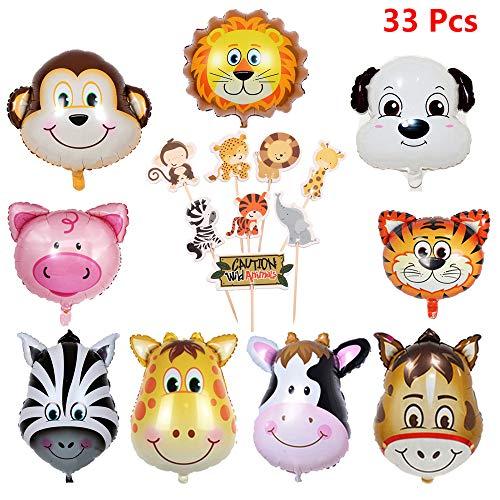 Kinder-geburtstags-deko set,9 Folienballon Dschungel Tiere Helium und Tier Torte Toppers Cupcake Tortenstecker,Tierkopf Ballons Luftballons Dschungel Tiere für Mädchen Junge Party Dekoration (33Stück)