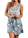 The Aron ONE Sommerkleider Damen Casual Ärmellos T-Shirt Kleid Kurzen Blumen Bedrucktes Strandkleider mit Taschen (Blau, XL)