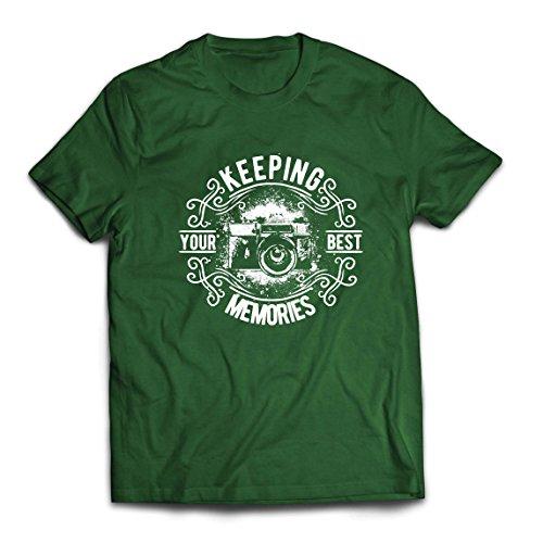 lepni.me Camisetas Hombre Cámara del fotógrafo, Foto - manteniendo Sus Mejores Recuerdos, Amante de la fotografía (Large Verde Oscuro