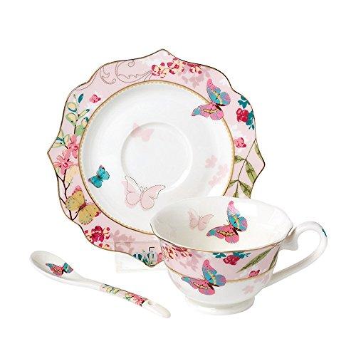 ufengke 170Ml Elegant Knochenporzellan Kirschblüten Und Schmetterling Gedruckt Kaffee Teetasse Und...