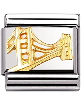 Nomination Composable Classic MONUMENTE RELIEF 1 Stahl und Gold 18 Kt (Golden Gate Bridge) 030146