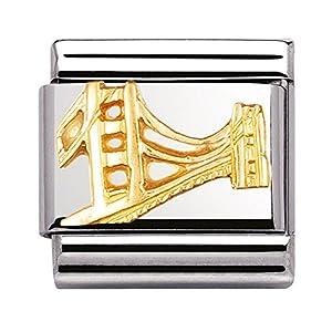 Nomination Composable Classic MONUMENTE RELIEF 1 Stahl und Gold 18 Kt (Golden Gate Bridge) 030146