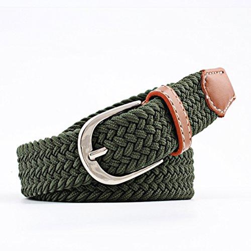 OULII Unisex Geflochtene Stretch-Gürtel Stoff gewebt Weben elastische Gürtel mit PU-Leder-Schleife und Spitze (Army Green) (Gewebte Elastischer Gürtel)