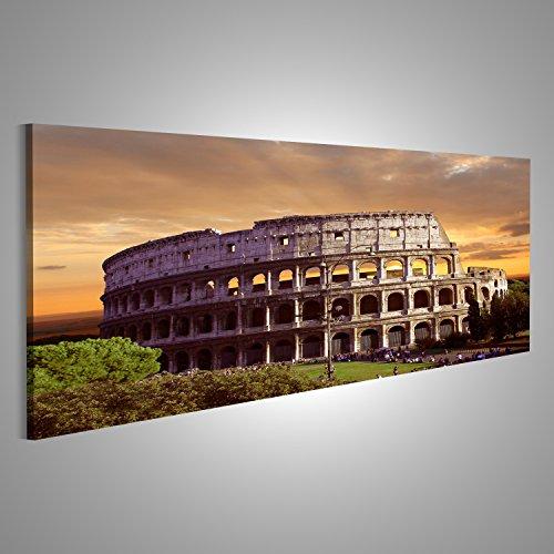 Bild Bilder auf Leinwand XXL Panoramabild Leinwandbild Wandbild Kunstdruck Poster Topseller BKL Kolosseum Rom