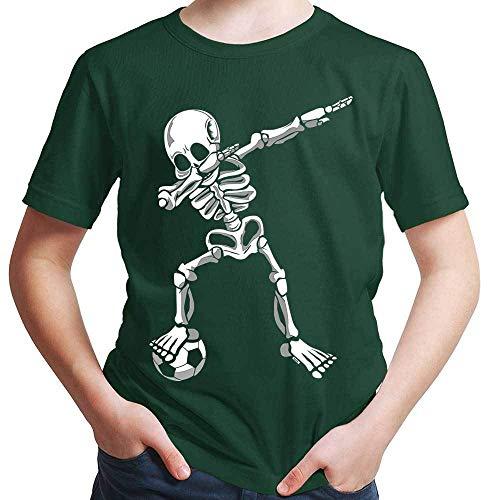 HARIZ  Jungen T-Shirt Dab Skelett mit Fussball Dab Dabbing Dance Halloween Plus Geschenkkarten Dunkel Grün 128/7-8 Jahre - Jungen Dunkel Grün