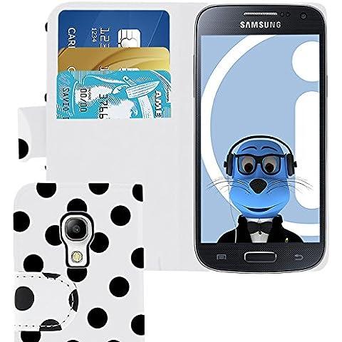 iTALKonline Samsung i9190 Galaxy S4 Mini PU Pelle BIANCO NERO POIS Vibrazione esecutivo Wallet Case Cover Prenota con Carta di Credito / porta biglietti da visita