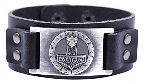 ebcfef67 fishhook Viking Thor's Hammer - Pulsera de Piel con 24 amuletos