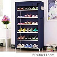 Aysis Multipurpose Portable Folding Shoes Rack 6 Tiers Multi-Purpose Shoe Storage Organizer Cabinet Tower with Iron and Nonwoven Fabric with Zippered Dustproof Cover (Navyblue-6-Layer)