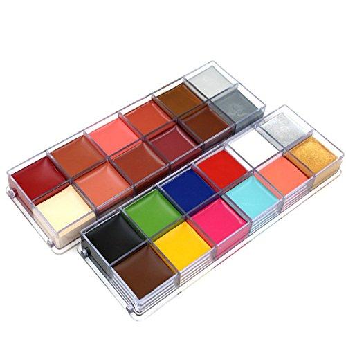 Aozzy 12 Farben Bodypainting Körperfarbe Gesichtsfarbe Set ,Schminke Palette für Parteien, Halloween, Thema-Parteien, Cosplay und Weihnachten