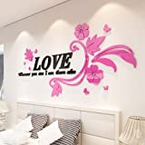 GOUZI Romantische 3d Acryl Schlafsofa, TV Liebe rattan richtige Edition + rosa Blume schwarz und ultra-kleine abnehmbare Wall Sticker für Schlafzimmer Wohnzimmer Hintergrund Wand Bad Studie Friseur