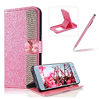 Herzzer Diamond Wallet Leather Case Galaxy J7 2018,Flip Cover Galaxy J7 2018, Premium Luxury Butterfly Buckle Magnetic Closure Pink Glitter Stand Case Soft Rubber