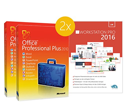 Original Microsoft 2PC – Office 2010 PRO (Professional Plus) - 2 Lizenzschlüssel + Lizenza ISO CD / DVD für 32 und 64 bit Deutsch inklusive Workstation 2016 für Office