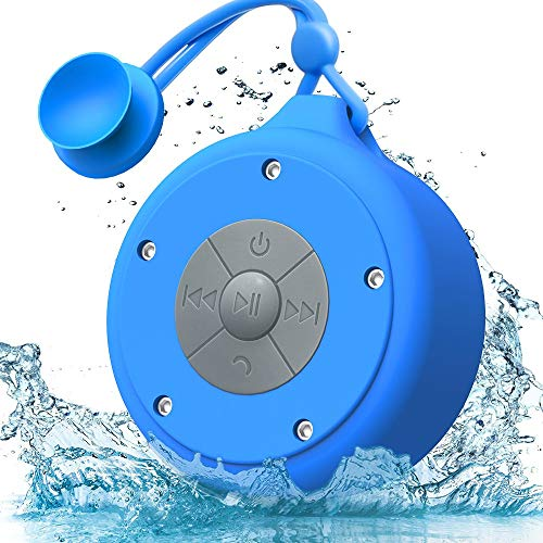 AOOE Tragbar Lautsprecher Wasserdichte Bluetooth Lautsprecher Mobiler Wireless Speaker Mini Outdoor Lautsprecher Außen-Lautsprecher 5W IP64 Duschradio mit Schlüsselband, Saugnapf (Blau)