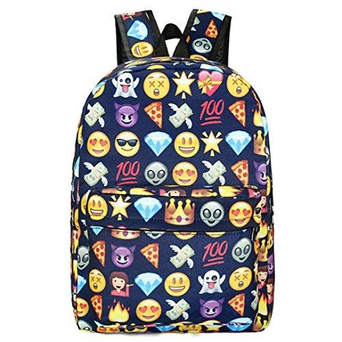 Imagen de emoji , imprimir cara  escuela bolsas para adolescentes niñas niños by venmo azul