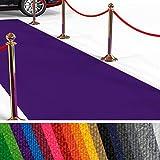 etm Hochwertiger Messeteppich Meterware | Rollteppich VIP Eventteppich, Hollywood Läufer, Hochzeitsteppich | 18 Farben in 23 Größen | Lila - 100x450 cm
