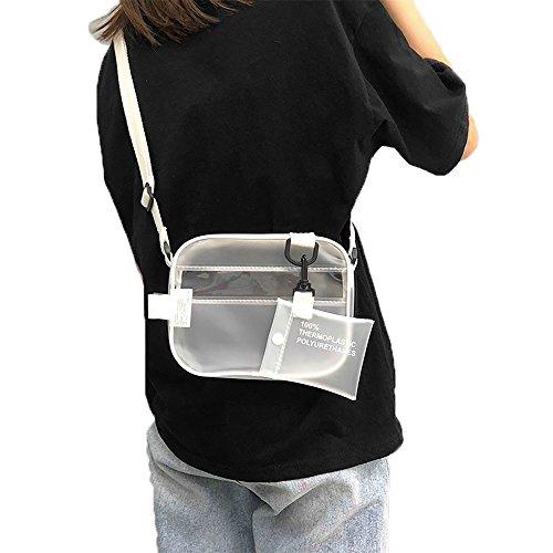 Enkrio Mini klar Cross Body Messenger Schultertasche Reißverschluss Tasche PVC transparent Geldbörse Verstellbarer Gurt Handtasche Kupplung matt für Frauen Herren Studenten