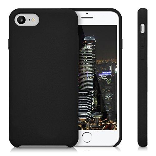 kwmobile Étui en TPU silicone élégant pour Apple iPhone 7 / 8 en petrol mat noir mat