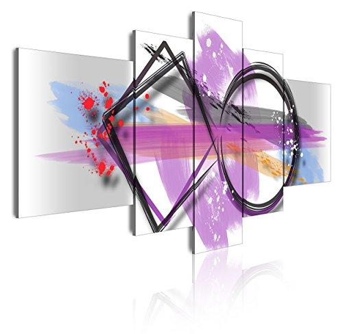 Cuadro tríptico moderno en lienzo de 5 piezas, estilo abstracto geométrico, 180x85cm