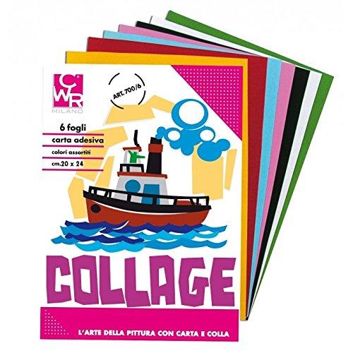 takestop Papel Collage Rasata Brillante Adhesivo Pegatinas Colores Multicolor Colores Surtidos álbum 20x 24cm 6Hojas 80gr