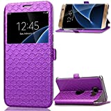 Galaxy S7 Edge Coque - Mythollogy Ultra Mince PU Cuir Portefeuille Etui Fenêtre Style avec Support Housse pour Samsung Galaxy S7 Edge G935F 5.5' Violet