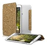 kwmobile Smart Cover Case per Huawei MediaPad T1 8.0 Honor T1 in Sughero di Colore Marrone Chiaro - Custodia per Tablet con Sostegno e Retro Trasparente