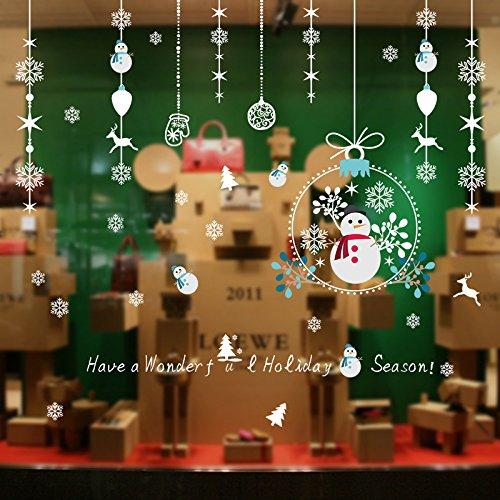 Weaeo Weihnachten Wohnzimmer Tür Und Fenster-Shop Schmuck Shop - Fenster Glas Sticker Schneemann Schneeflocken Wandhalterung