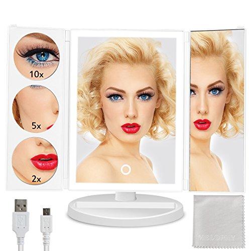 Makeup Spiegel Beleuchtung mit 24 LEDs 3 Fach verschiedene Vergrößerungen USB Wiederaufladbar und Batteriebetrieben, Kosmetikspiegel Faltbar Dimmbar 180° Einstellbar, Ideal als Geschenk für Frauen (Halloween Happy Frisur)