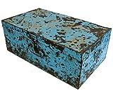 Guru-Shop Alter Blechkoffer Antiker Metallkoffer, Antik-blau, 29x74x42 cm, Truhen, Kisten, Koffer