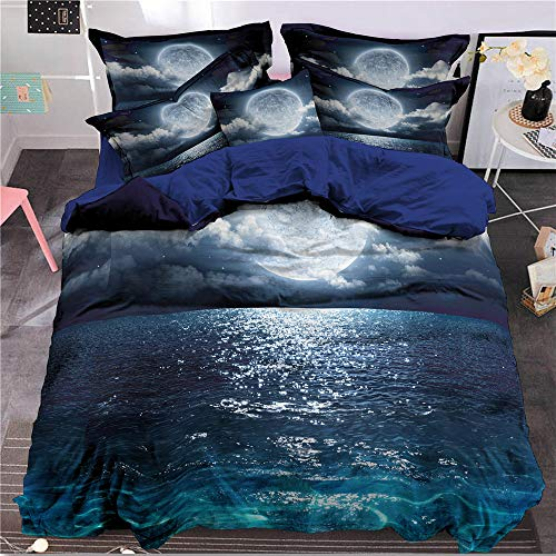 Bettbezug Set 3D Galaxy Sternenhimmel Universum Mond Duvet Quilt Und Kissenbezug für Kinder, Jungen, Mädchen Bettwäsche Set (Stil #7, 135 x 200 cm) (Kinder Queen Bettbezug)