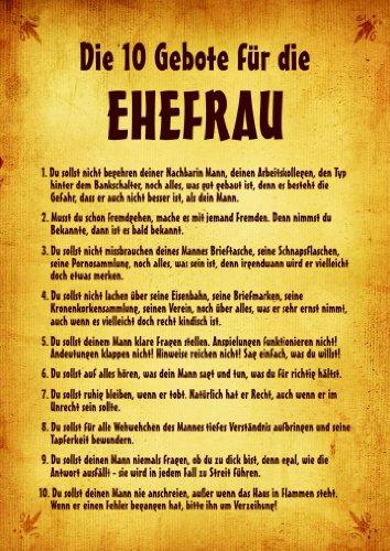 """QUATSCHmanufaktur Urkunde Poster""""10 Gebote für die Ehefrau"""" ca. 40 x 60 cm"""