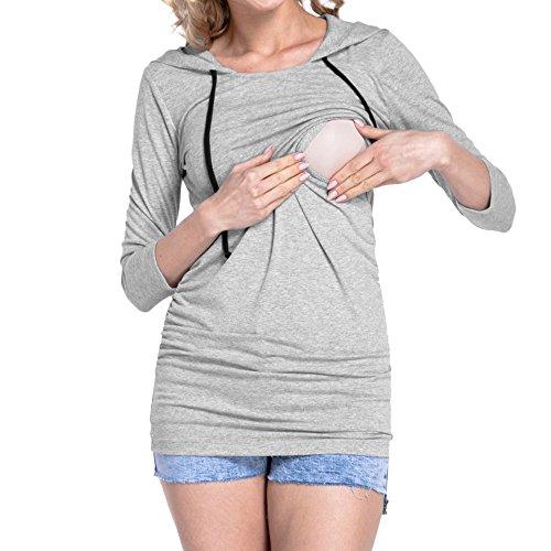 ITISME FRAUEN BLUSE Damen Umstandsshorts mit Langen Ärmeln und Kapuze T-Shirt (2XL, Grau1)