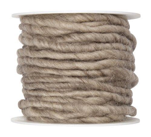 Wollschnur Wollband 5mm Breit hellbraun/natur 10 meter auf der Rolle