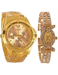 BLUTECH Combo Analog Casual Classical Gold Dial Wrist Couple Watch For Man's & Woman's Pack Of 2 (Gold Rosar+Aks)
