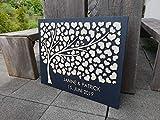 Manschin Laserdesign Personalisiertes 3D Gästebuch aus echtem Holz - Baum - Gästebuch Alternative - (Hintergrundfarbe Anthrazit, 75 x 60 cm)